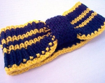 Ear Warmer Headband Cheerleader Sports College Blue and Sunflower Yellow Team Gear Alumni Support Pride