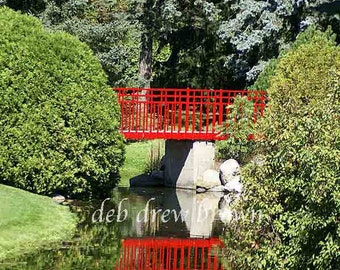 Dow Gardens in Michigan boasts this peaceful setting with Japanese style bridge