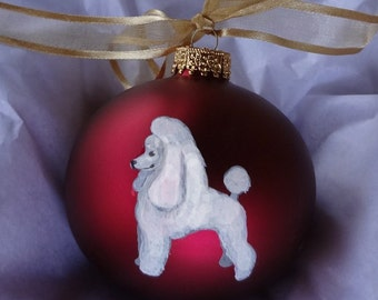 Poodle Dog Hand Painted Christmas Ornament - Can Be Personalized with Name