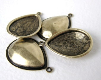 Antiqued Brass Pear Rhinestone Setting 1 Ring Glue In Vintage Style 18x13mm set0153 (4)
