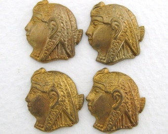 Vintage Brass Stamping Egyptian Pharaoh Cameo Head 15mm stp0042 (4)