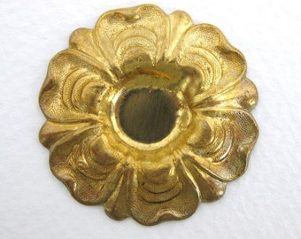 Large Vintage Brass Flower Stamping Cabochon Setting 33mm stp0043 (1)