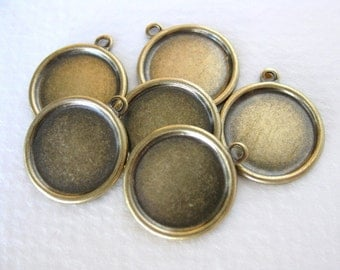 Antiqued Brass Setting Cameo Round Frame Vintage Style 13mm set0155 (6)