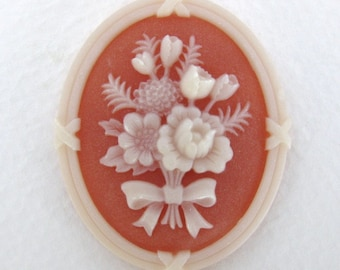 Vintage Flower Cameo Cabochon Ivory Bouquet on Carnelian 41x33mm pcb0222 (1)