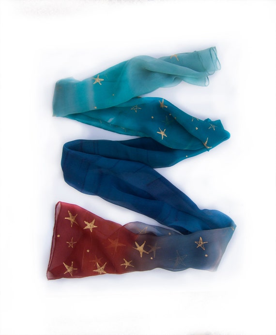 Hand painted silk chiffon scarf -OMBRE silk scarf with stars-Midnight blue ombre scarf