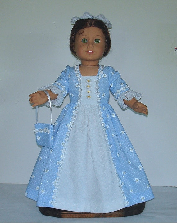 Blue and white floral Colonial Tea Gown Created for American Girl doll  Elizabeth or Felicity No.479