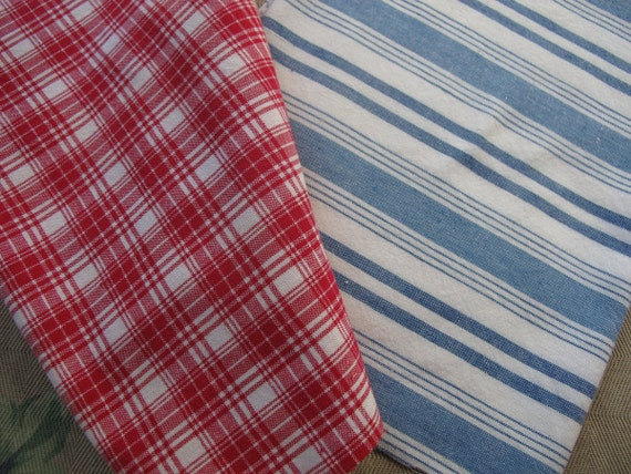 Red White and Blue, Woven Stripes, Woven Cotton Remnants, Woven Plaid, Primitive cottons