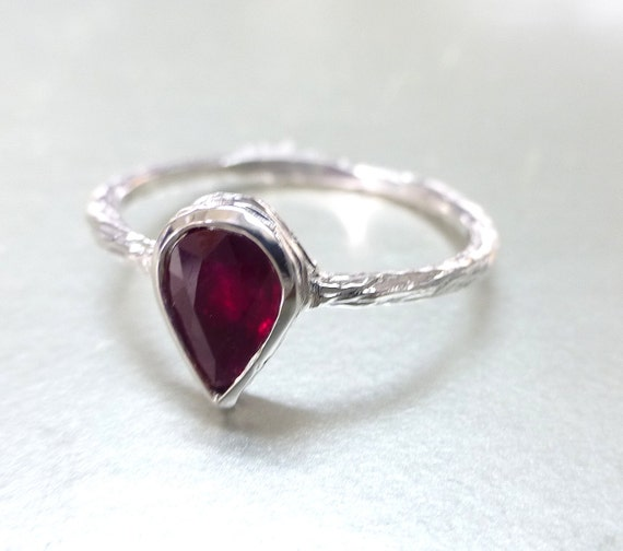Burmese ruby Pear shape ring.  Engagement ring or stacking ring. 14k gold