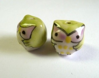 Green Baby Owls Beads