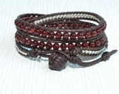Garnet and Sterling Silver 3X Leather Wrap Bracelet