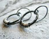Sterling silver earrings hammered hand forged rings metalwork oxidized contrast rustic minimalist - Enceladus