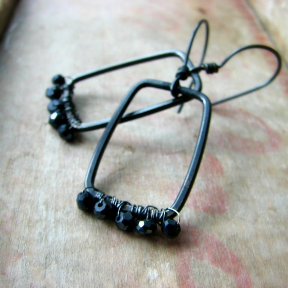 Sterling silver earrings metalwork wire wrapped gemstone earrings sparkling black - Windows to the Soul