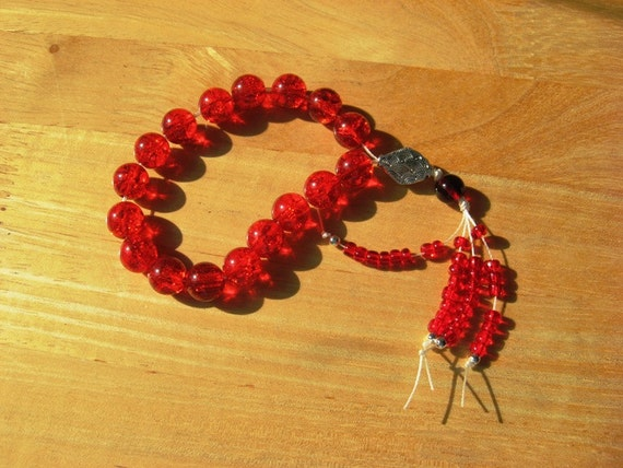Greek Worry Beads Red Crackled Glass