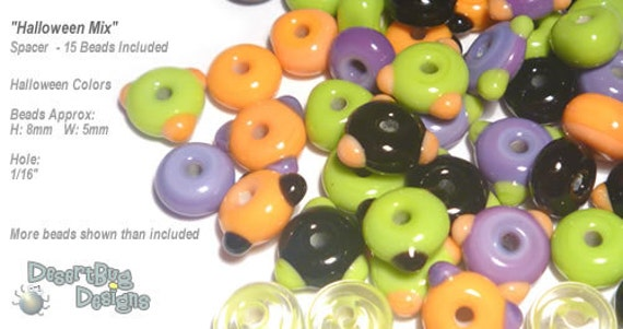 ACCENT Handmade Lampwork Beads 15 Spacers Halloween Colors Purple Green Orange Black  by Desert Bug Designs