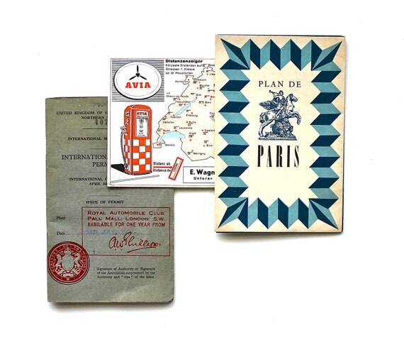 Traveling Abroad - Antique Paris Map, International Driving Permit, Etc - Antique Map