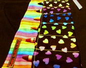 Rainbow Hearts and Stripes Print Crayon Roll w/ Lavender Ribbon and 8ct Crayola Crayons