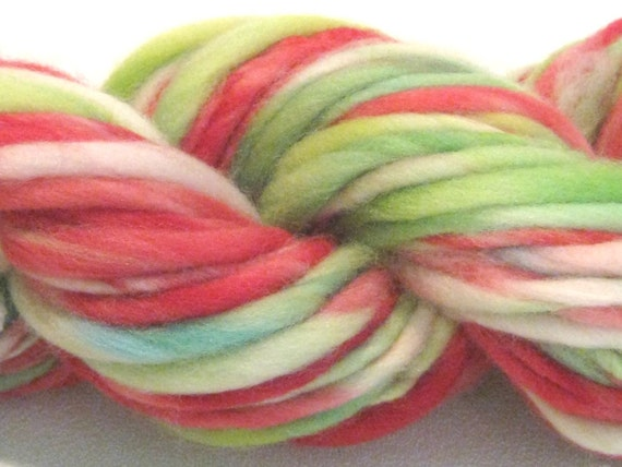 thick and thin bulky handspun yarn Strawberry Fields  50 yards, merino wool yarn red green white