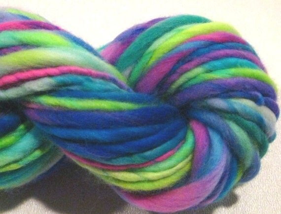 thick and thin bulky handspun yarn Hodgepodge, 50 yds, merino wool yarn neon knitting supplies waldorf doll hair