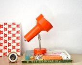 Vintage mid century modern 1970s orange industrial lamp Western Germany