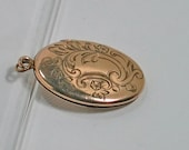 Vintage VICTORIAN Long GF OVAL Locket, Etched Scrolls, Feathers, L M & Co