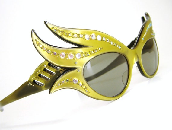 Vintage 50s Yellow French Cat Eye Sunglasses Frames Wild Eyewear