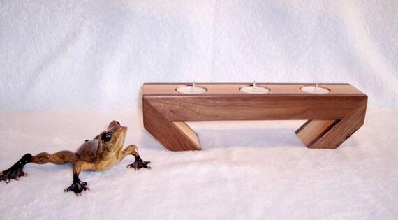 Walnut and Pine Tealight Holder 3