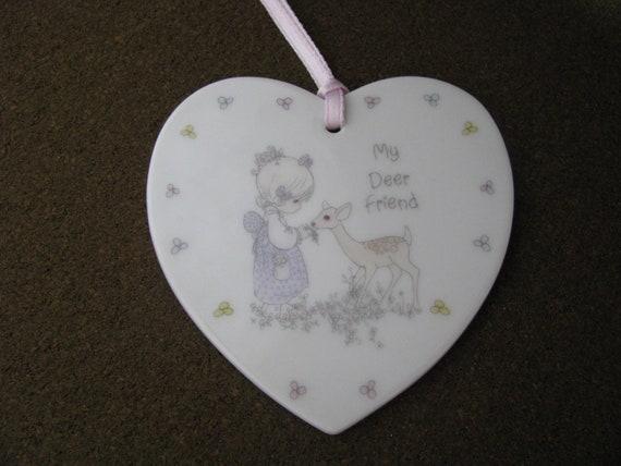 Pretty 1988 Precious Moments Heart Porcelain Christmas Ornament My Deer Friend