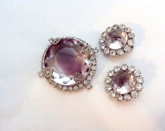 Stunning Givre Glass Stone Rhinestone Pin and Earrings