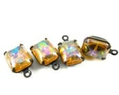 4 - Vintage Glass Octagon Stones in 1 Ring Black Antique Brass Prong Settings - AB Light Topaz - 10x8mm