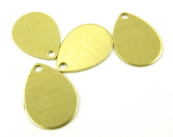 8 - Raw Brass Pear Shape Charm Stampings