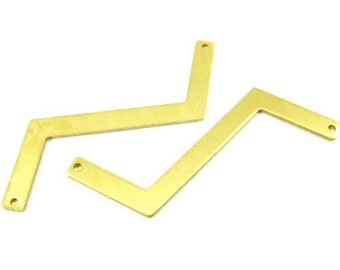 4 - Raw Brass Zigzag Connector Stampings