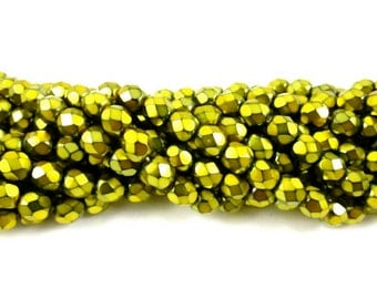 30 - Round Czech Fire Polished Faceted Glass Beads - Pearlized Lime on Jet - 6mm