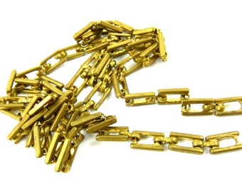 Vintage Rectangular Link Brass Chain - CN23 - 2 Feet