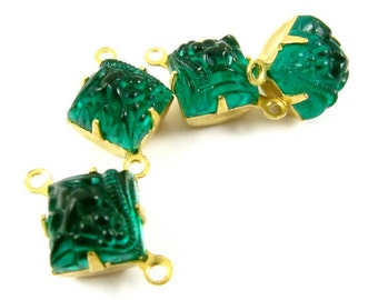 4 - Vintage Glass Square Stones in 2 Rings Closed Back Brass Prong Settings - Emerald - 8x8mm