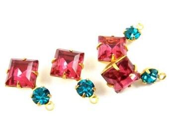 Vintage Dark Rose & Zircon Blue Set Stones Rhinestone 18x11mm Earring Drops Square 1 Ring Brass Settings - 2