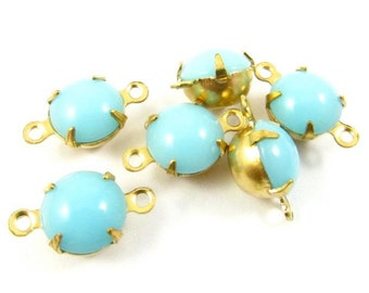 4 - Vintage Glass Round Stones in 2 Rings Closed Back Brass Prong Setting - Opaque Turquoise - 8mm