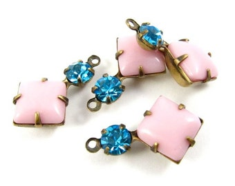 2 - Vintage Glass Charms Square 1 Ring Set Stones Antique Brass Prong Settings Opaque Pink & Dark Aqua 18x11mm .