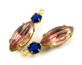 2 - Vintage Glass Round and Navette Stones in 1 Ring 2 Stones Brass Prong Settings - Light Amethyst & Navy - 23x7mm