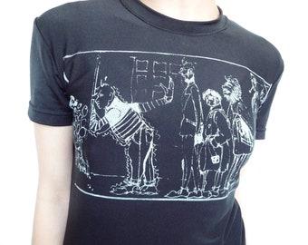 80s Junior Gaultier T shirt Illustrated Portrait of the Designer