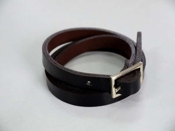 Black Leather Bracelet Wrap Bracelet Leather Cuff  with Gold Plate Buckle Clasp