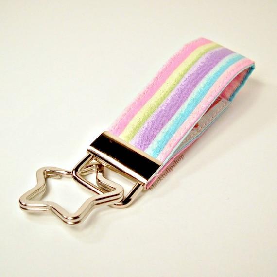 Fairy Kei Wristlet Fabric Mini Key Fob Key Ring Pastel Glitter Stripes