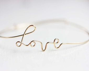Wire Love Bracelet - Gold or Silver