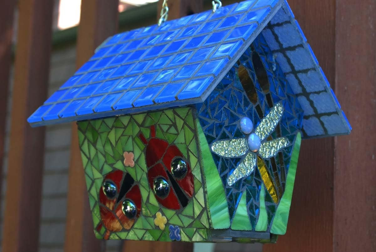 Bird House Stained Glass Mosaic Butterfly