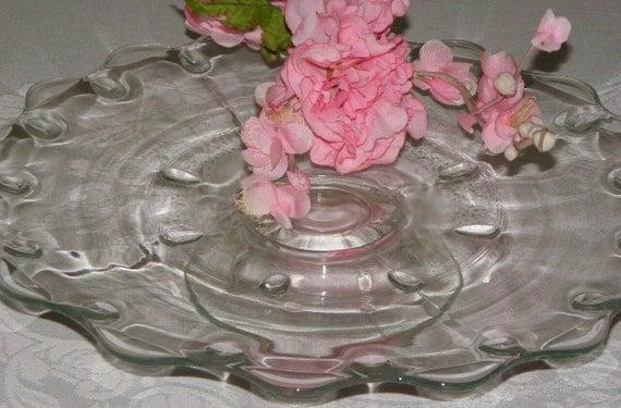 Vintage Tear Drop Pedestal Cake Plate by Indiana Glass Company Large 14 Inces Diameter Short Base Rare
