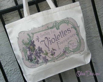Natural Cotton Canvas Tote with a Vintage Light Purple French Violet Sign Embellished with Lavender Crystal Accents