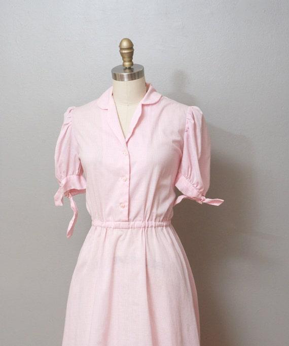 1970s Dress - Pink Gingham Shirtwaist Dress