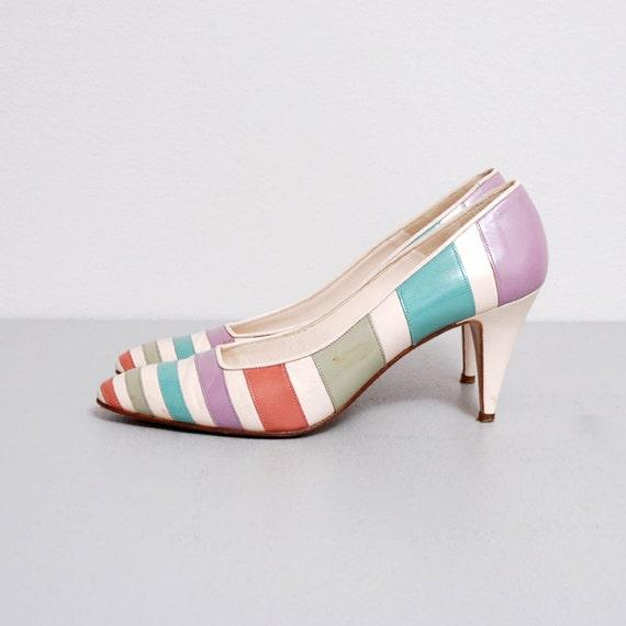 1950s Heels - Pastel Stripe Pin Up Heels Size 7 - 7.5