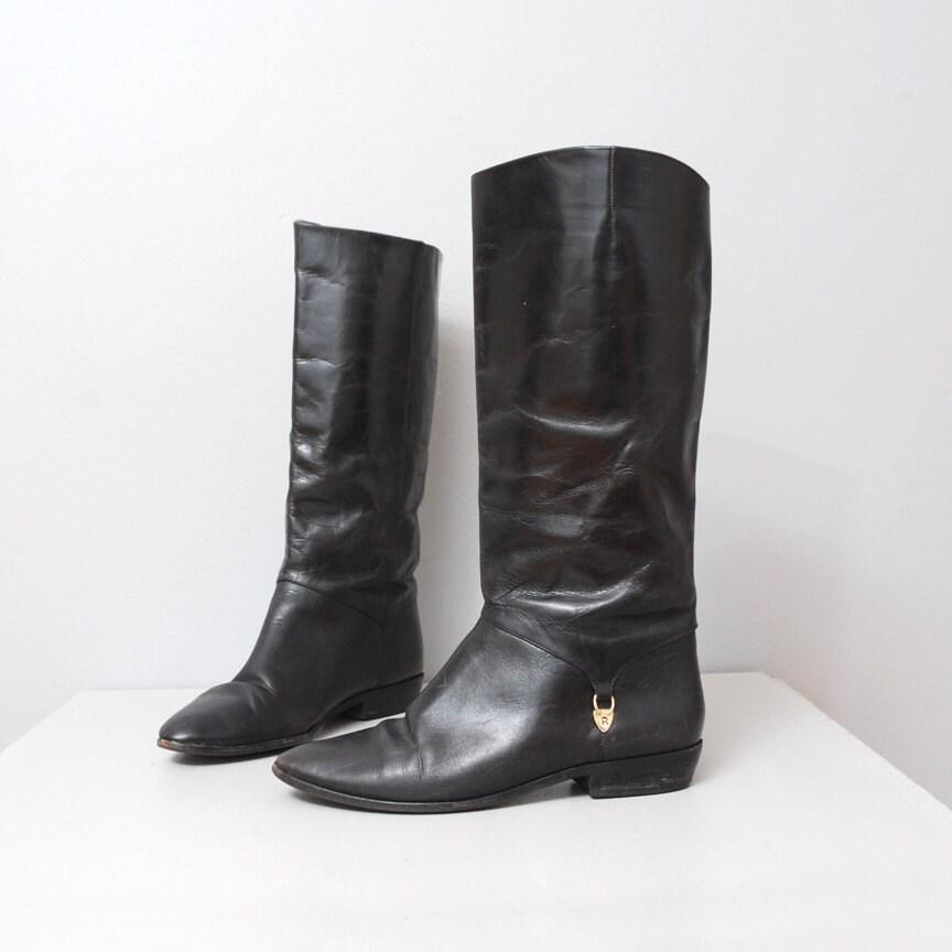 1980s boots black leather etienne aigner boots