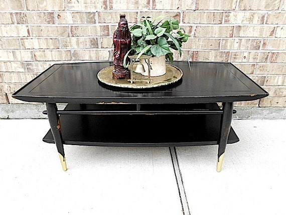 Vintage - Upcycled - Magnificent Mid Century - Industrial Black - Wooden Coffee Table - Brass Legs