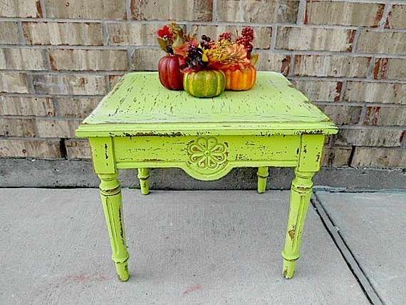 Upcycled - Luscious Lime Green - Vintage - Wooden Flower Table - Funky Farmhouse - Boho CHIC